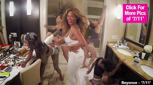 Beyonce half naked speaking, obvious